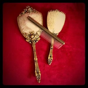 24K Gold plate Brush, Comb and Mirror set ~ 1960s